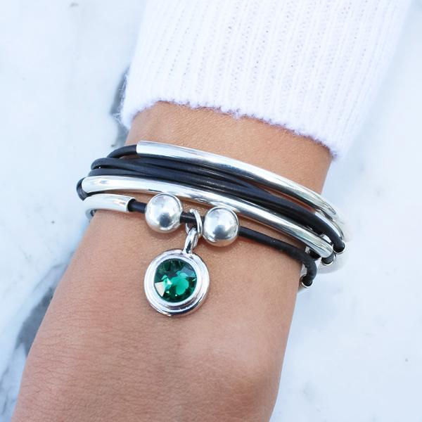 The  Emerald Green Crystal Charm  shown on the  Girlfriend wrap- add your charm choice .
