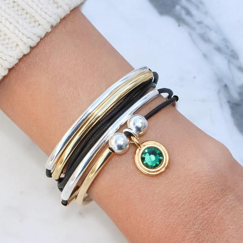 The  May Birthstone Emerald Green Crystal Charm in Gold  shown in the  Girlfriend Wrap Gold and Silver -add your charm choice.