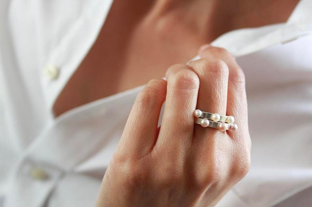 The Princess White Pearl Sterling Silver Ring  with the  Princess Pink Pearl Sterling Silver Ring .