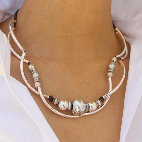 The  Lonny Necklace  is a great statement artisan jewelry piece.