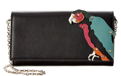 The  Valentino Rockstud Tropical Dream Parrot Leather Wallet On Chain.