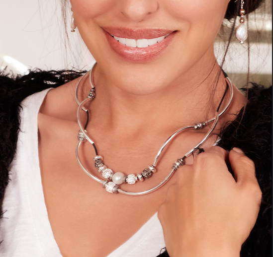 The  Kristy  wrap shown as a necklace.