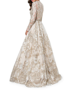 The Glamour by Terani Couture Embroidered Fit and Flare  Gown .