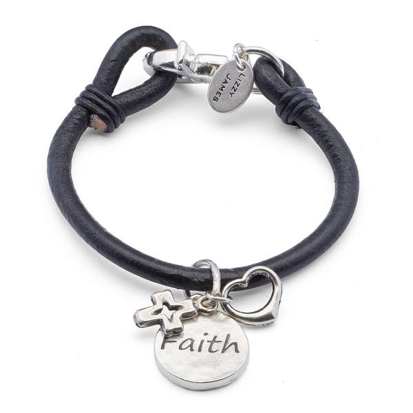 This  Devon  bracelet is adorned with a charm trio that includes the silver open cross charm, open heart charm and Faith charm, secured by a large silverplate swivel clasp.