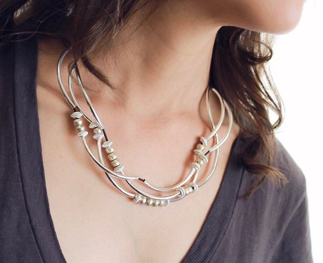 The  Boho Silverplate  wrap bracelet looks great as a necklace too.