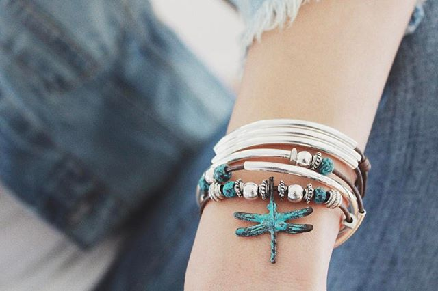 I love the patina dragonfly charm included on the  Andie  leather wrap bracelet.