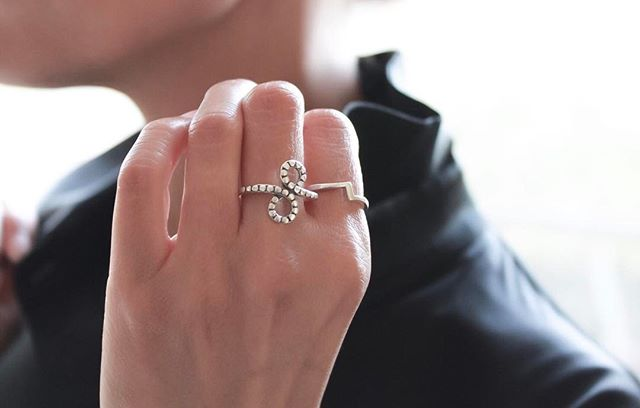 The  Infinity Sterling Silver Ring  paired beautifully with the  Lightning Sterling Silver Ring .