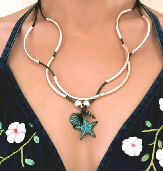 The  Nautical Teal Charm Trio  shown on  Girlfriends-add your charm choice .