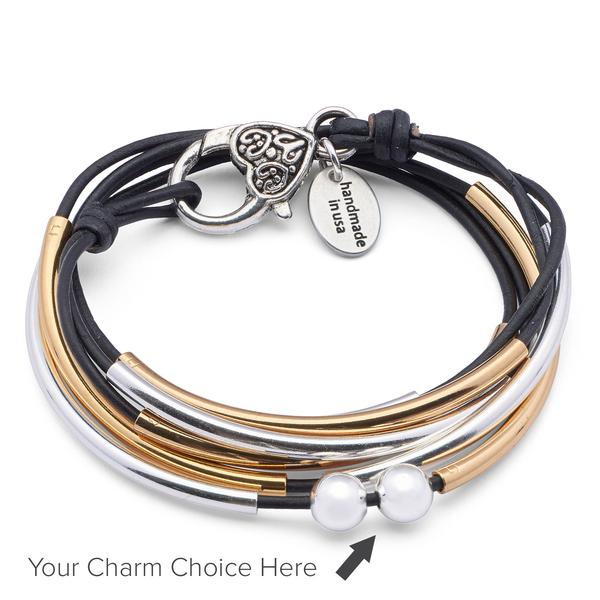 The  Girlfriend Wrap Gold and Silver- Add Your Charm Choice  is a two-toned wrap bracelet that can be worn as a necklace or bracelet.