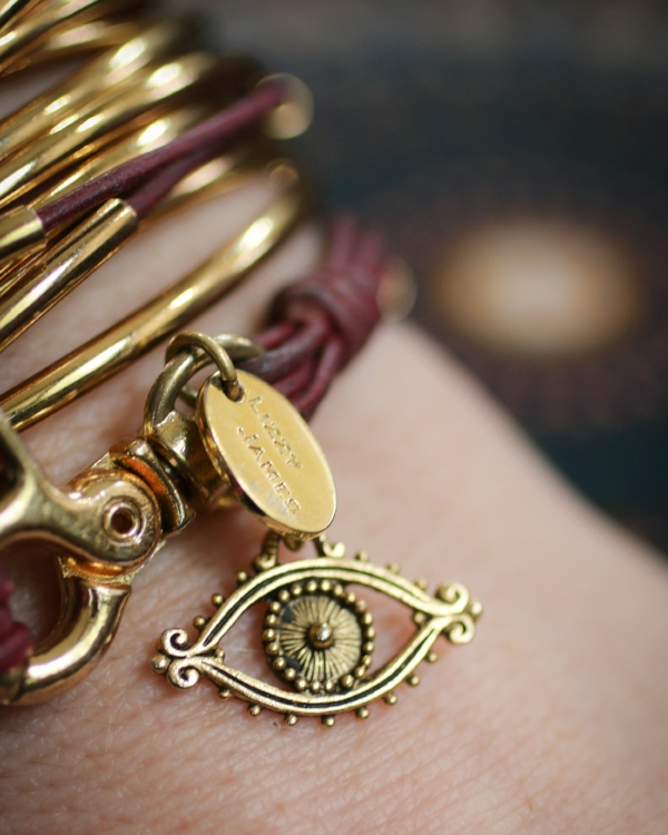 My  Eye Charm in Gold Tone  shown on my  Lizzy Classic Goldplate  wrap bracelet.