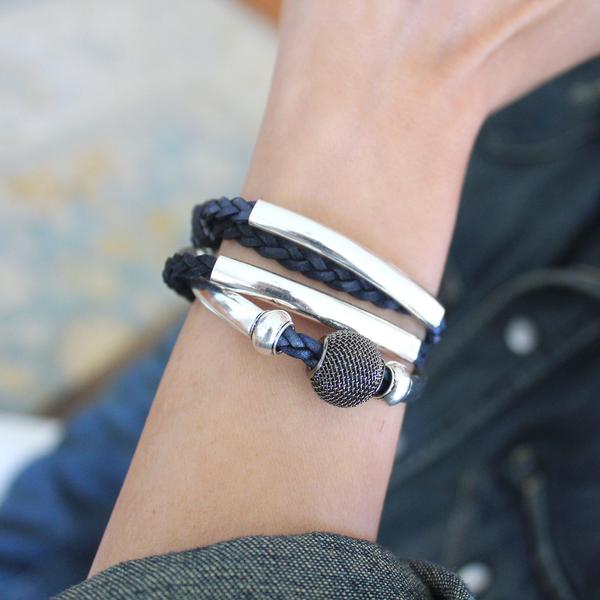 You can see the deep blue tones of the natural pacific braided leather of the  Mini Morgan  braided leather wrap bracelet.
