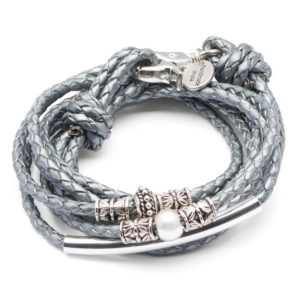 Naomi  shown in metallic silver round braided leather.