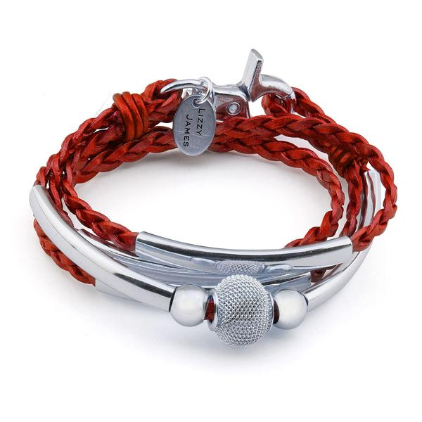 Mini Maddie  with a pop of metallic moroccan red braided leather.