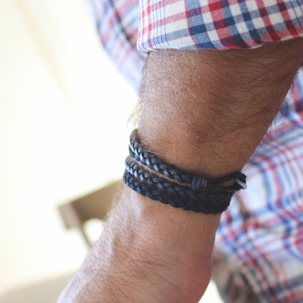 Nate  wrap shown in natural black braided leather.