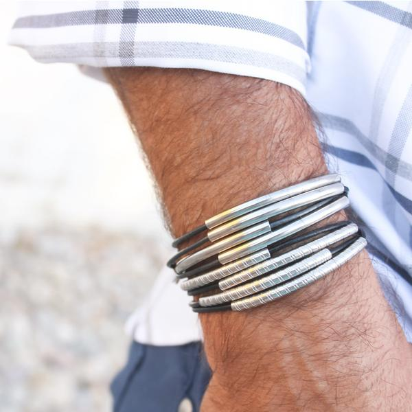 Lasso 2 Strand Stainless Steel  stacked with  Metro Stainless Steel .