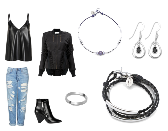 Wisdom Choker ,  Smooth Sterling Silver Ring ,  Astrid Earrings w Black Onyx ,  Mini Addison Silverplate  styled with a  Zonewetwo Black V-Neck Semi-Sheer Chiffon Back PU Cami ,  Faith Connexion classic fitted bomber jacket ,  MOTO Super Rip Hayden Jeans ,  Saint Laurent Niki black leather ankle boots .