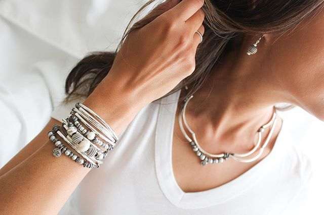 Layer your favorites! The  Maribel  wrap bracelet paired beautifully with the  Zenith Earrings  and  Platinum with Druzy Charm  wrap bracelet also being worn as a necklace too.