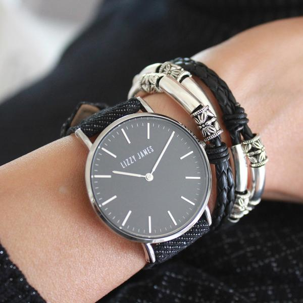 Timeless Lizzy Watch with Black Denim Band  looks great stacked with your favorite  Lizzy James  wrap bracelet.