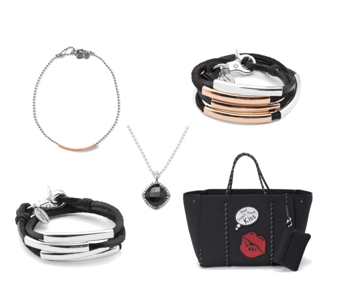 TOTE:  Rain or Shine tote  CHAIN CHOKER:  Louise Choker with Rose Goldplate  CHAIN NECKLACE:  Stunner Black Chalcedony Sterling Silver Necklace - Limited Edition  WRAP BRACELET ABOVE:  Mini Celine Rose Goldplate and Silverplate  WRAP BRACELET BELOW:  Mini Celine Silveplate