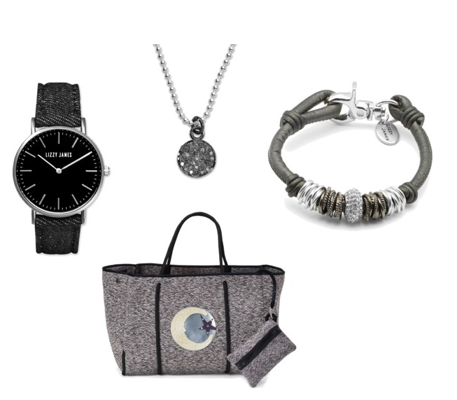 TOTE BAG:  Rain or Shine tote  CHAIN NECKLACE:  Pizzazz Diamond Sterling Silver Necklace - Limited Edition  WATCH:  Timeless Lizzy Watch with Black Denim Band  WRAP BRACELET:  Marsha .