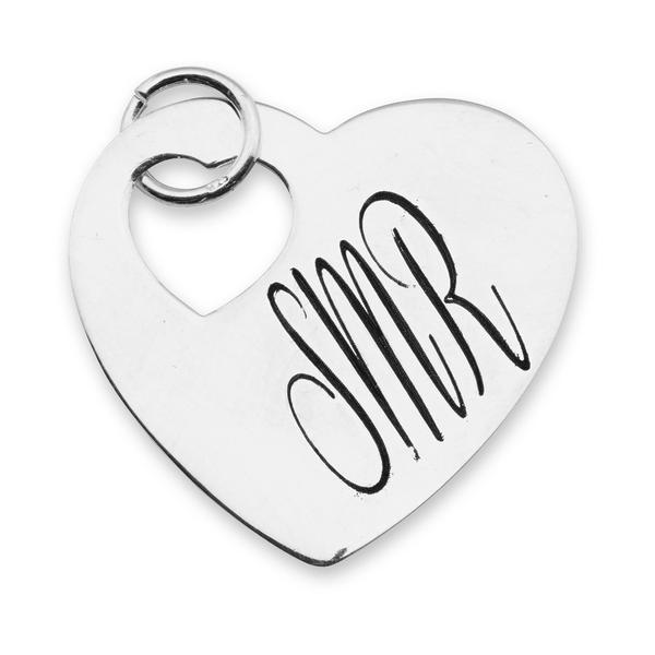 Heart on Heart Charm in Sterling Silver- engravable