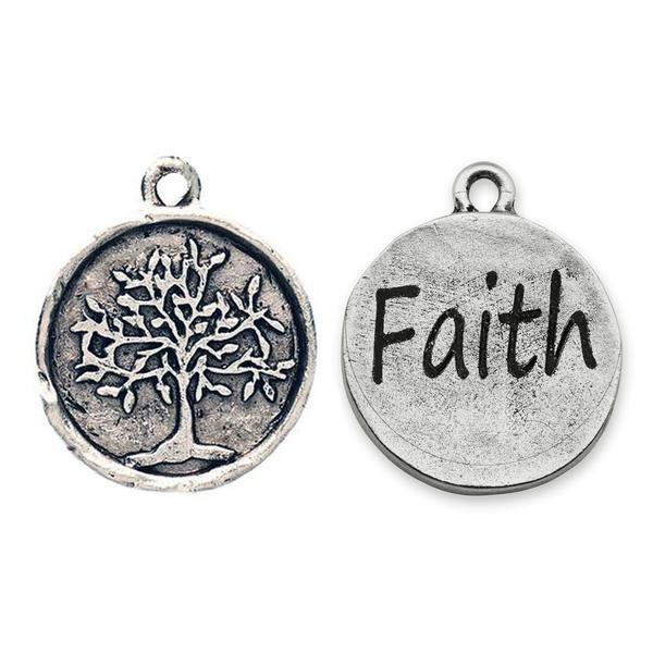 Stamped Tree of Life Charm - engravable