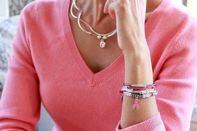 Amelia Breast Cancer Awareness Wrap - shown as a bracelet.