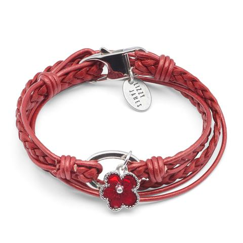 Mini Paisley with Red Enamel Flower Charm