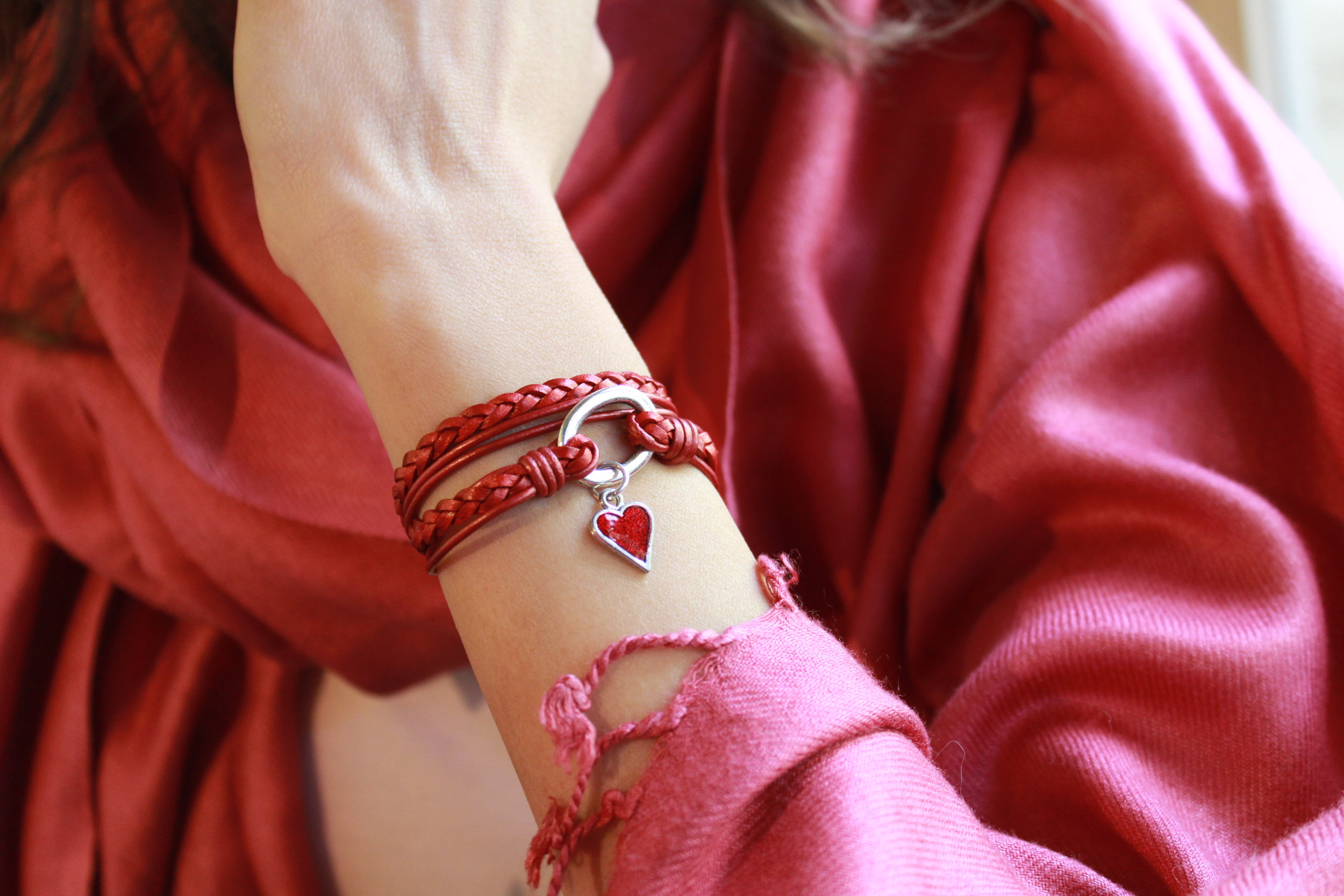 Mini Paisley Add Your Charm Choice  with added  Hand Painted Enamel Red Heart Charm