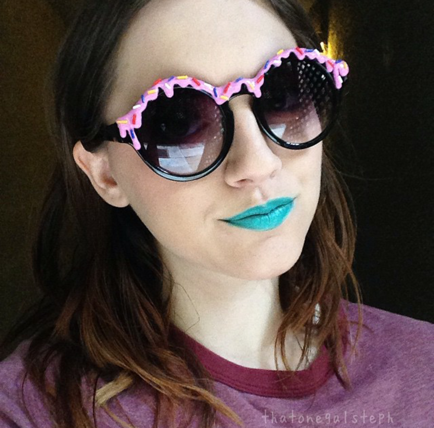@thatonegalsteph rocking the pink with sprinkles doughnut sunglasses