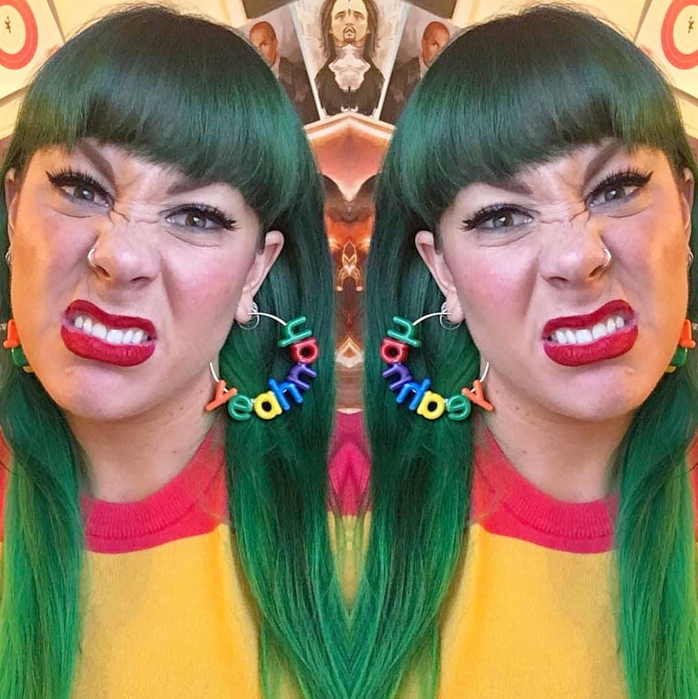 Bad ass @maria_lewis in her YeahNah hoop earrings