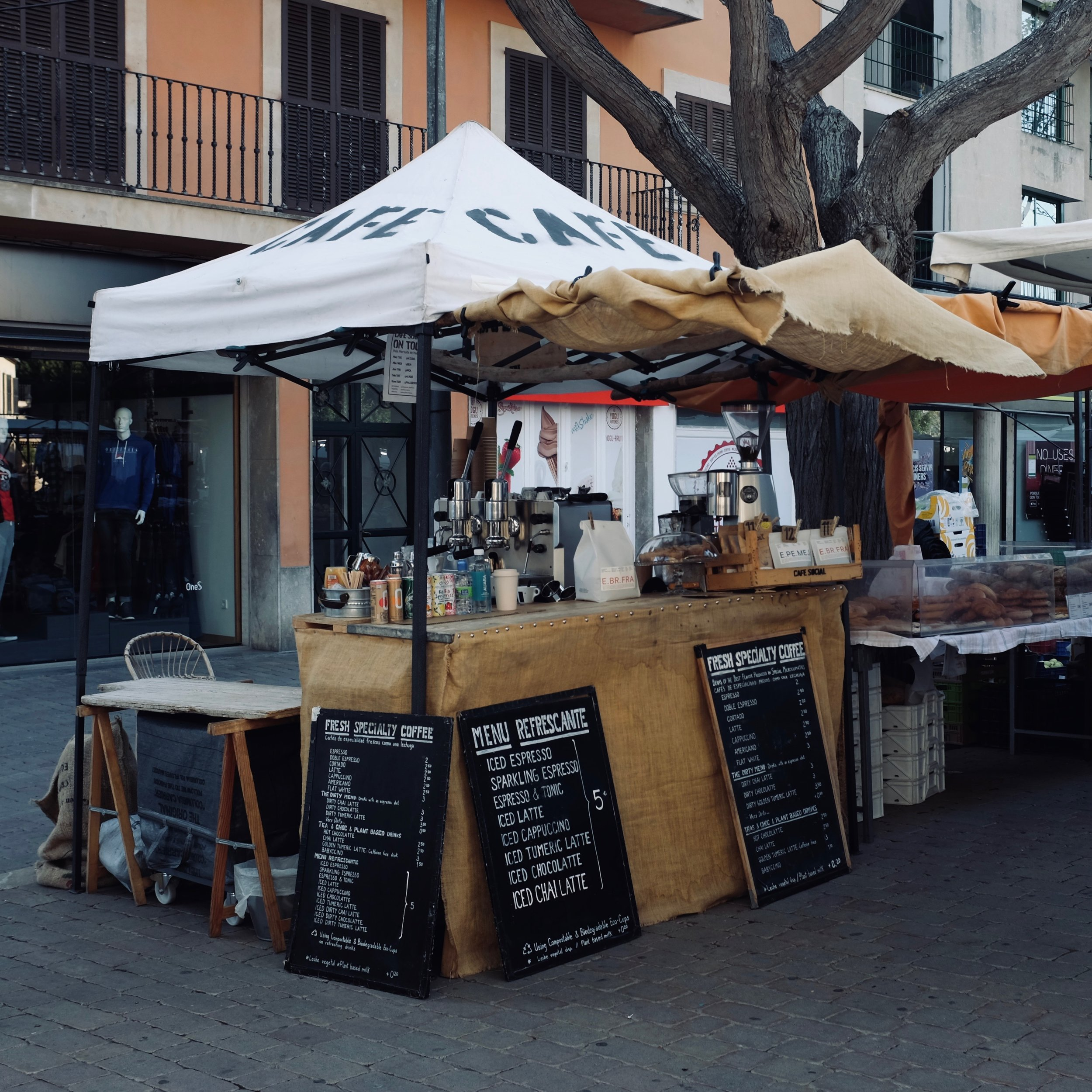 Find CAFE SOCIAL in the main part of the Alcudia Old Town market every Tuesday for your fresh speciality coffee