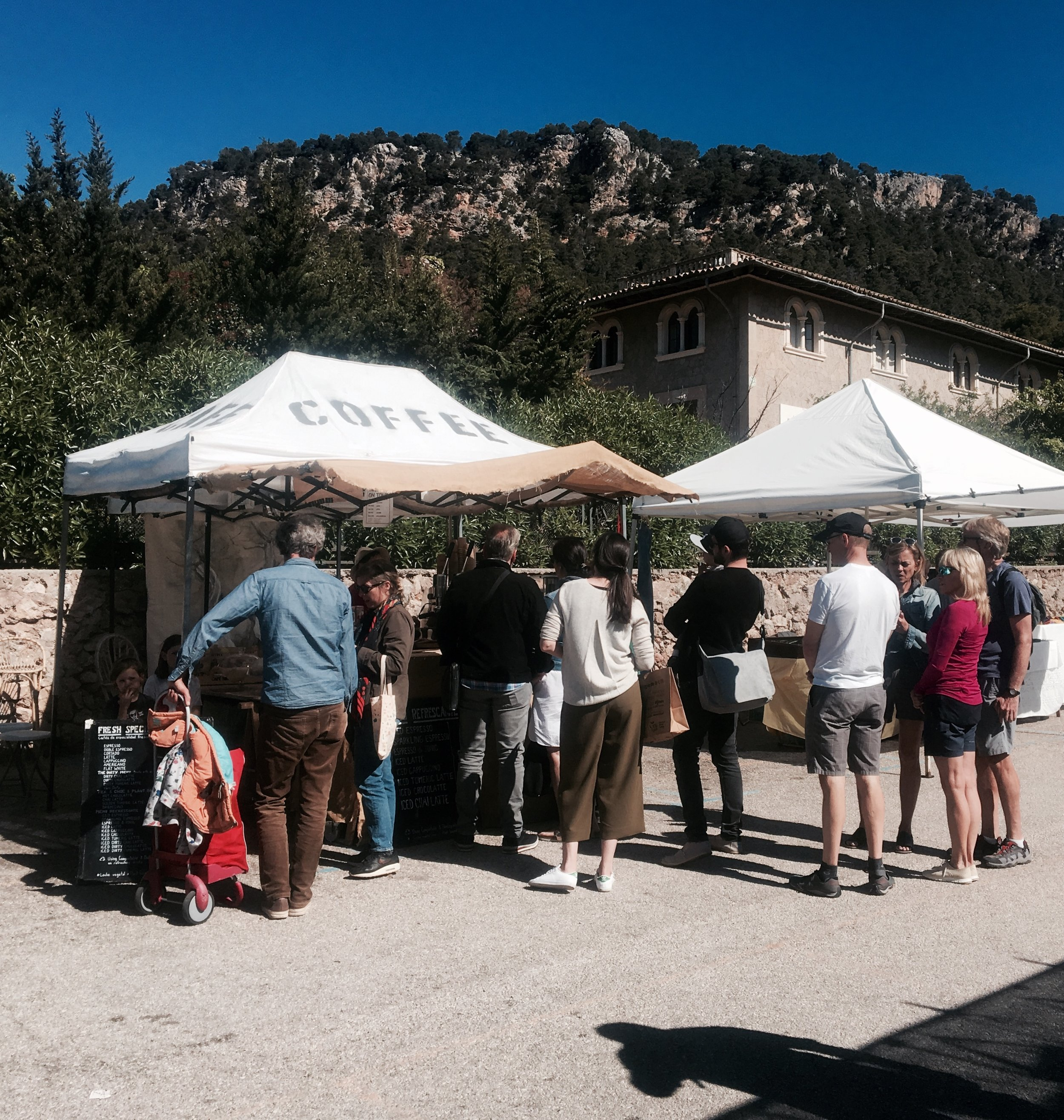 Specialty coffees stand in Valldemossa market every Sunday morning