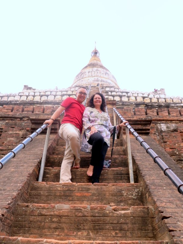 Climbing the steps to Shwesandaw Temple famous sunset spot. Busy but great atmosphere.