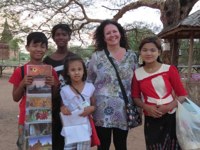 At most of the larger temples there are lots of children, and a few adults who are very anxious to sell you postcards and nicknacks. They are usually good-natured and if we bought a few trinkets we always asked for photographs