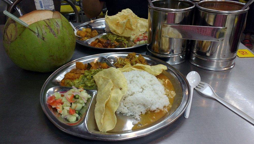 Vegetarian Thali and Coconut Water at Batu Caves