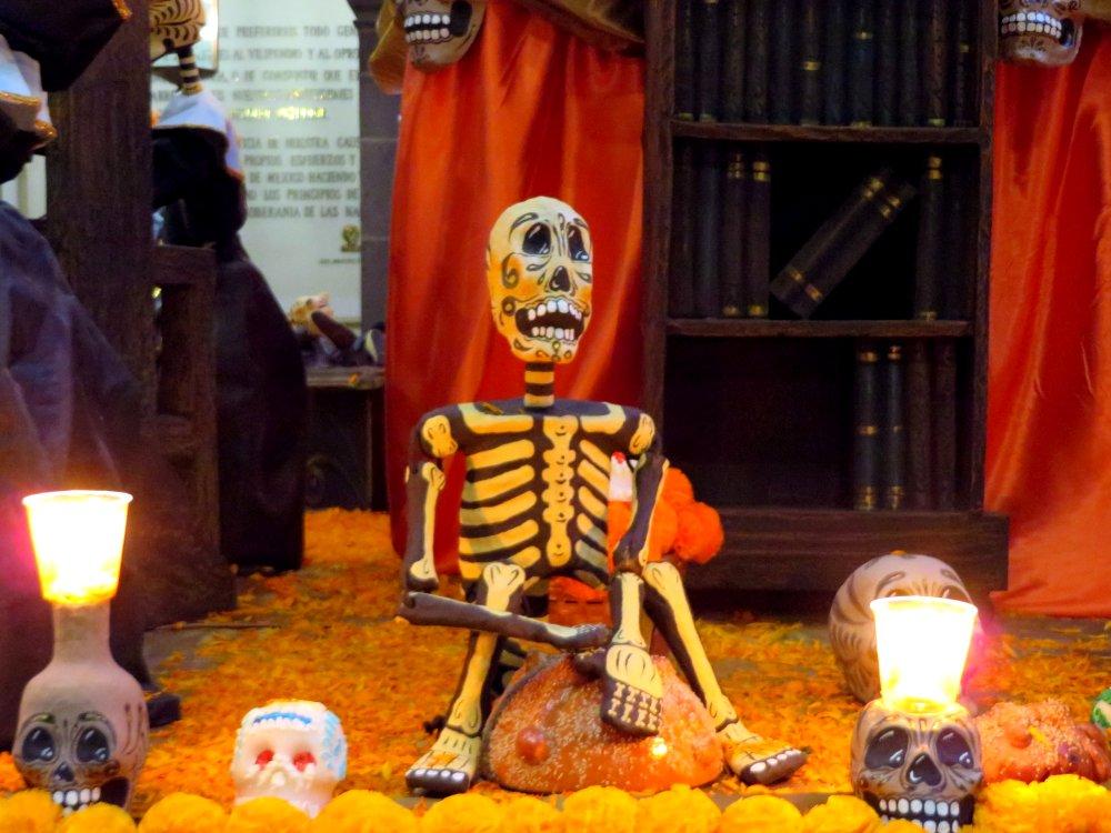The Mexican marigolds or Cempaspuchitl traditonally adorn the altars