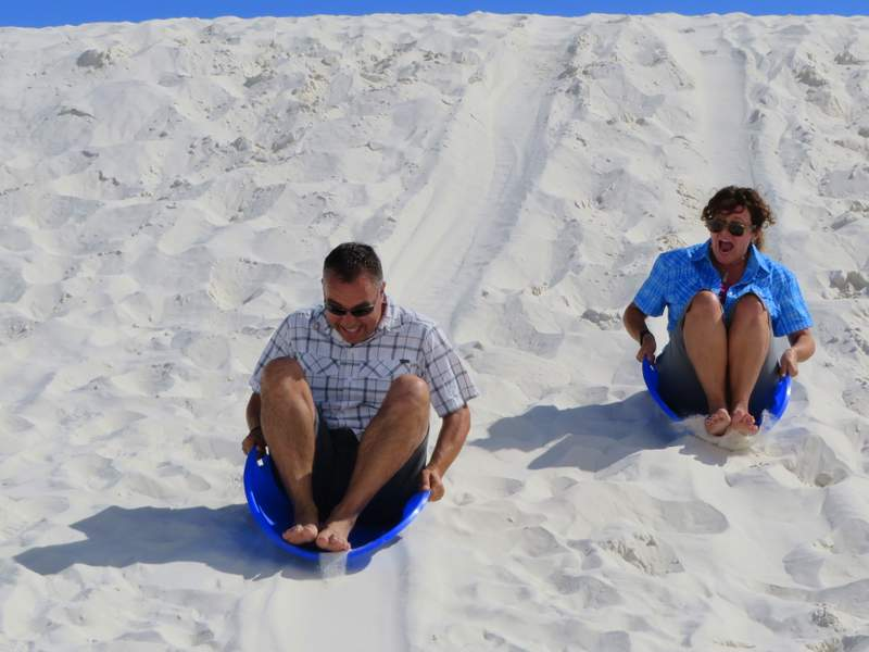 Just before I beat Iain in a sledding race White Sands National Monument