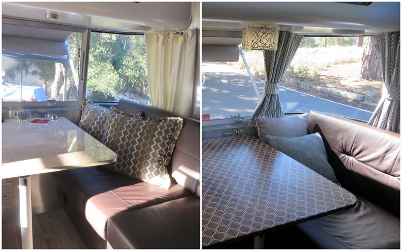 We replaced the laminate table, drapes and added lights to the dinette