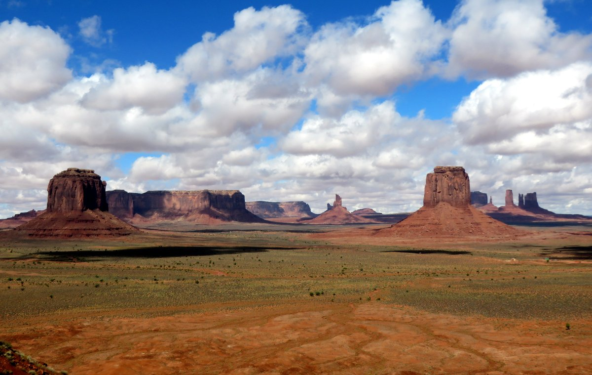 Sunshine and shadows over Monument Valley