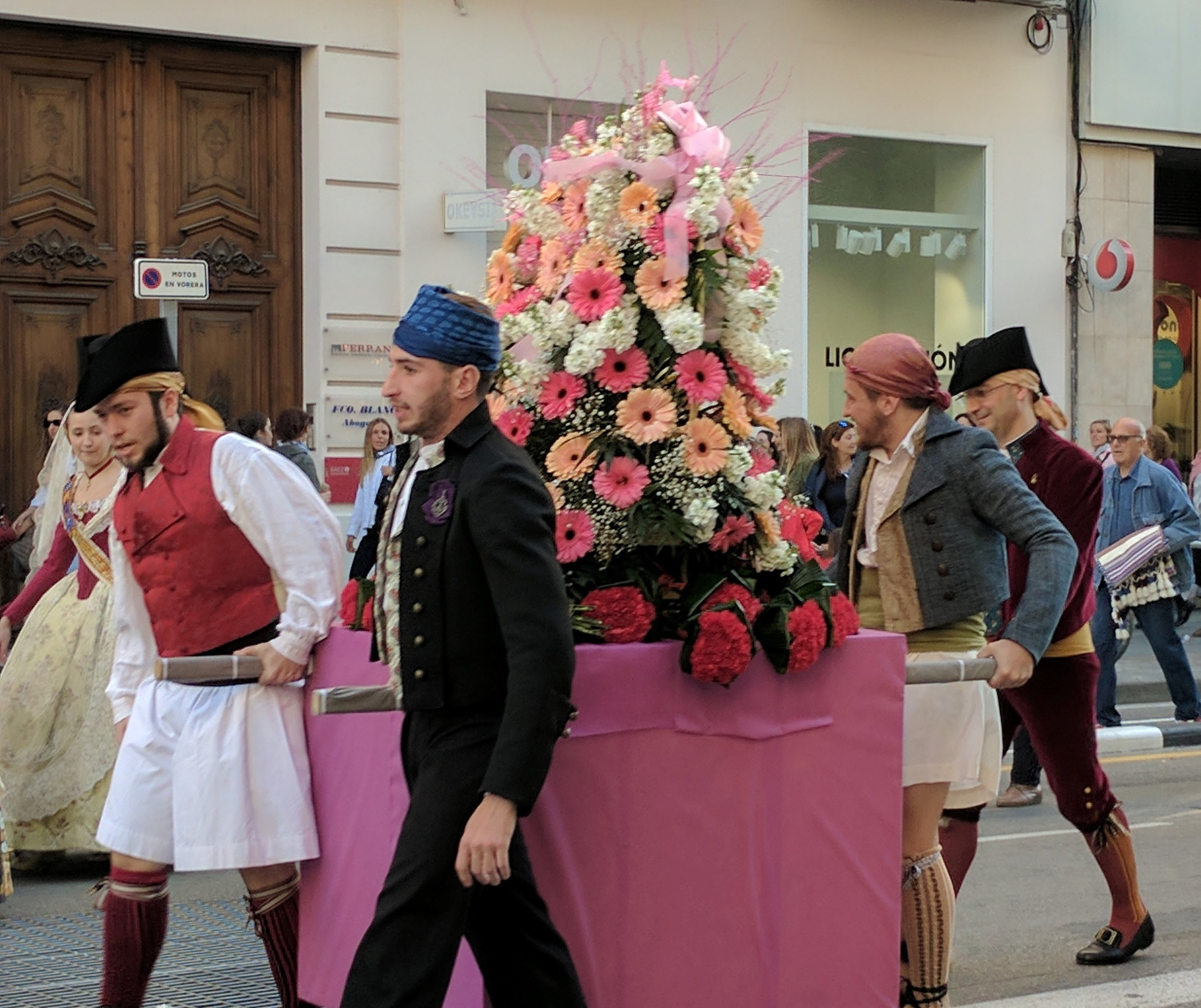 Parade offering flowers to the patron Saint of Valencia