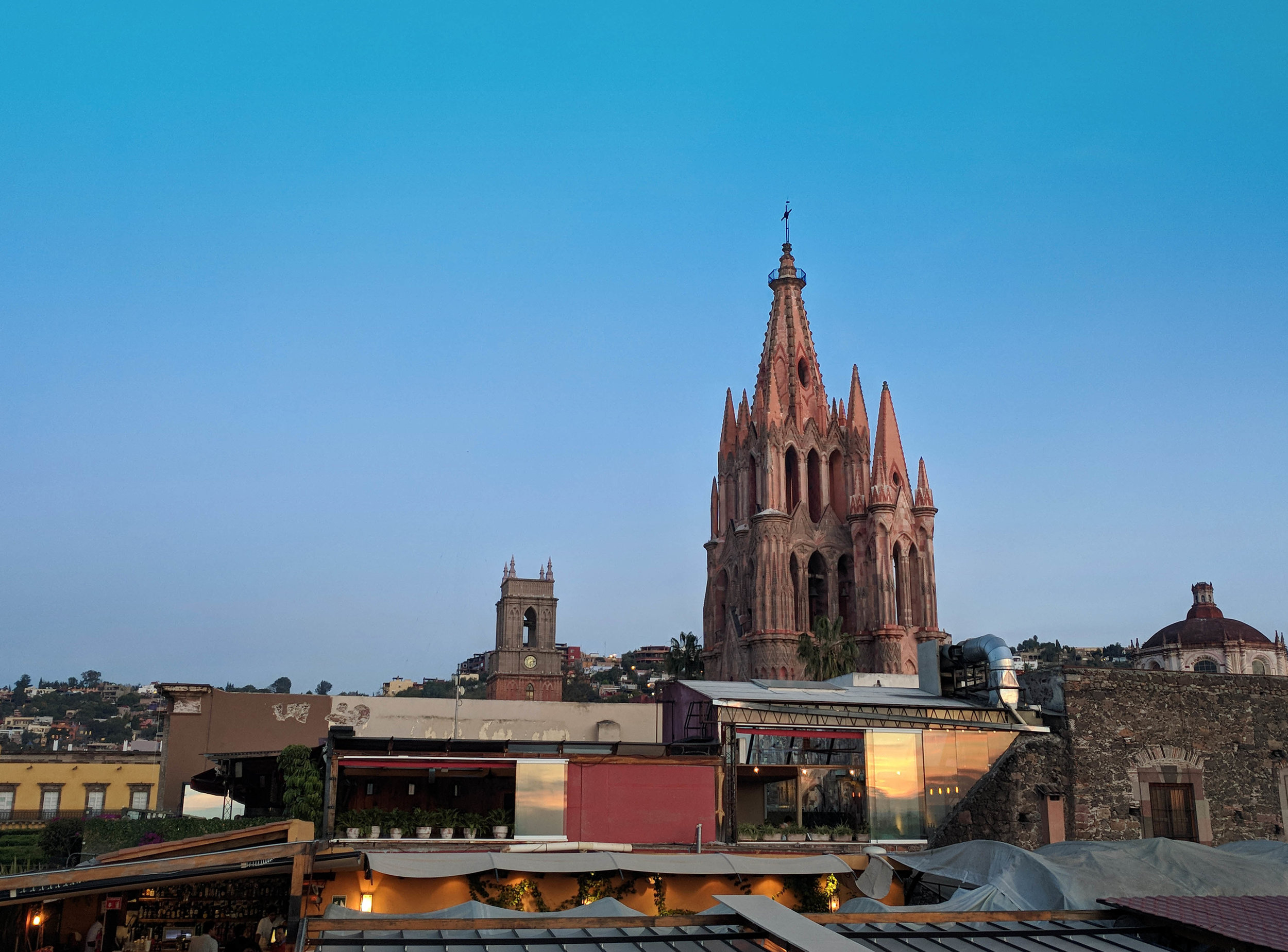 Three rooftop bars in a row. This is the view from La Chula, over Mama Mia and La Azotea
