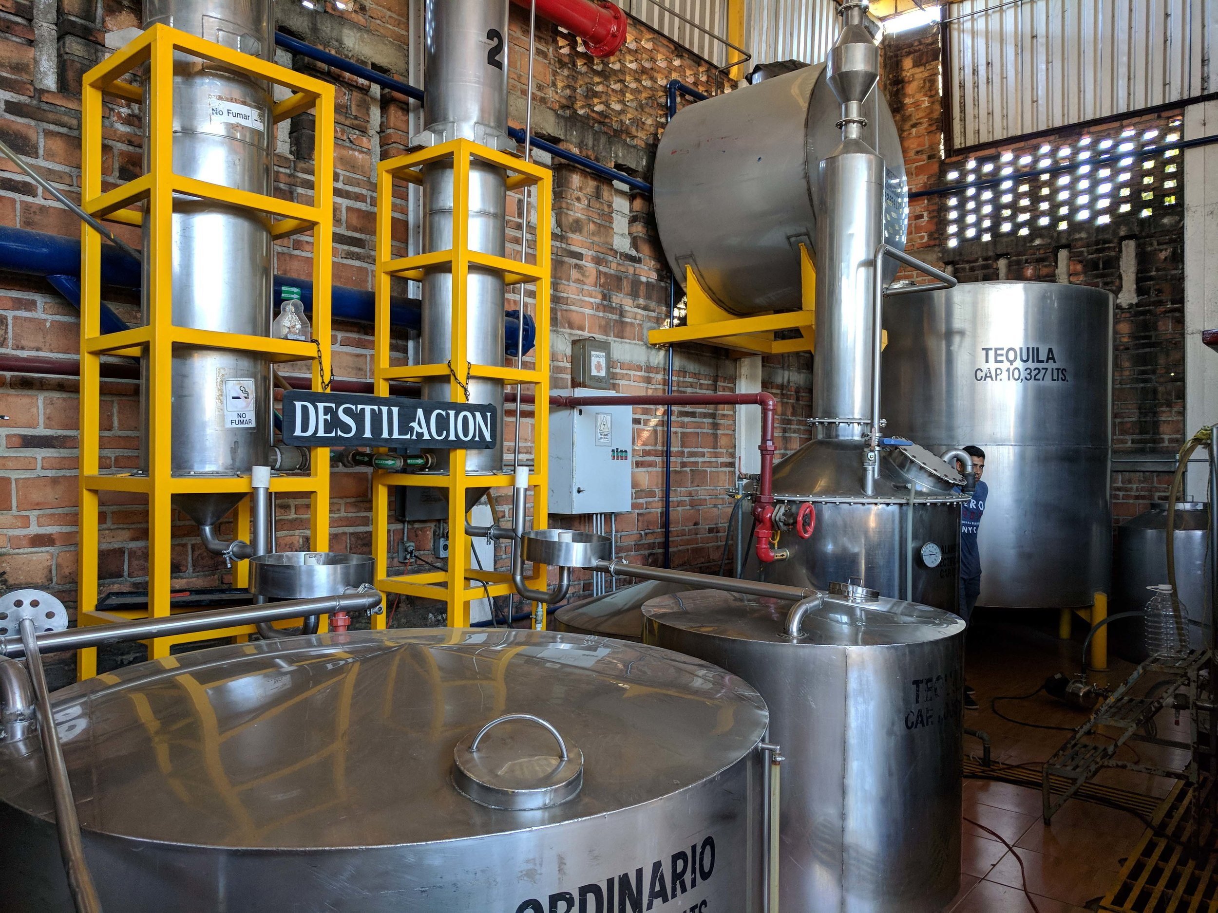 Distillation - First tank is Ordinario, second one is tequila blanco