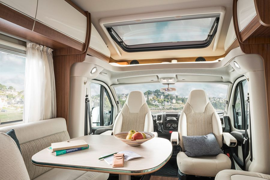 Advantage of a semi-integrated - no bed at the front allows for lots of light.