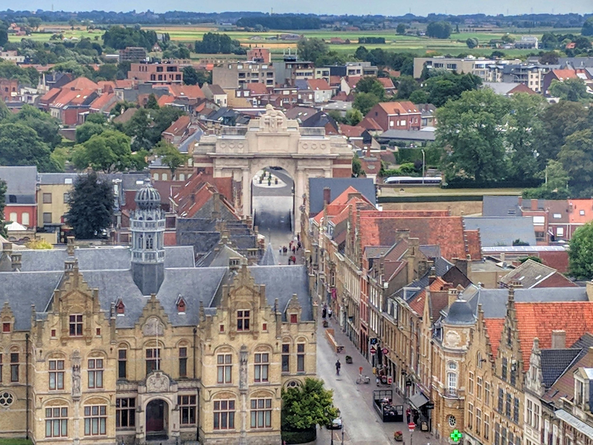 View of The Menin Gate from the Tower of The Cloth Hall