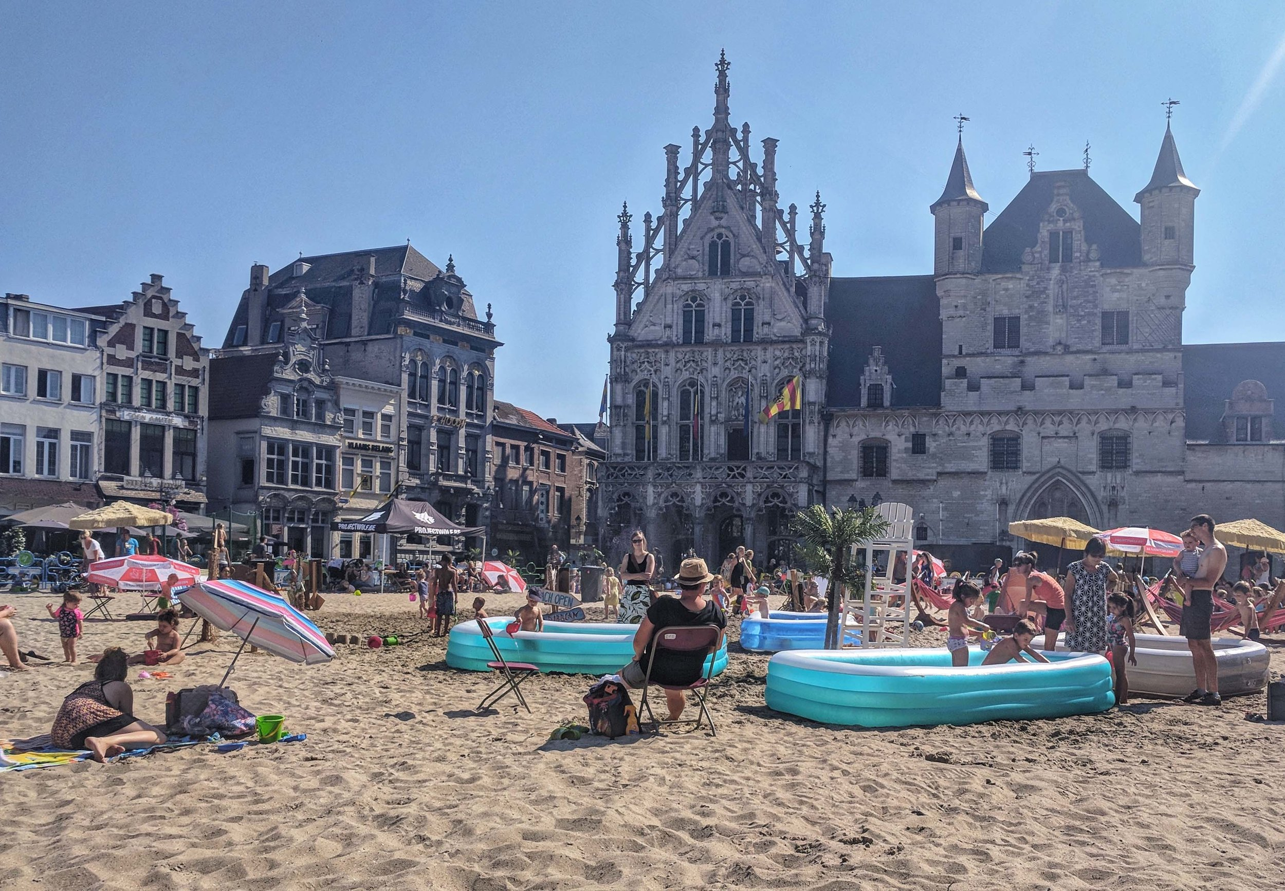The temporary beach in the city square