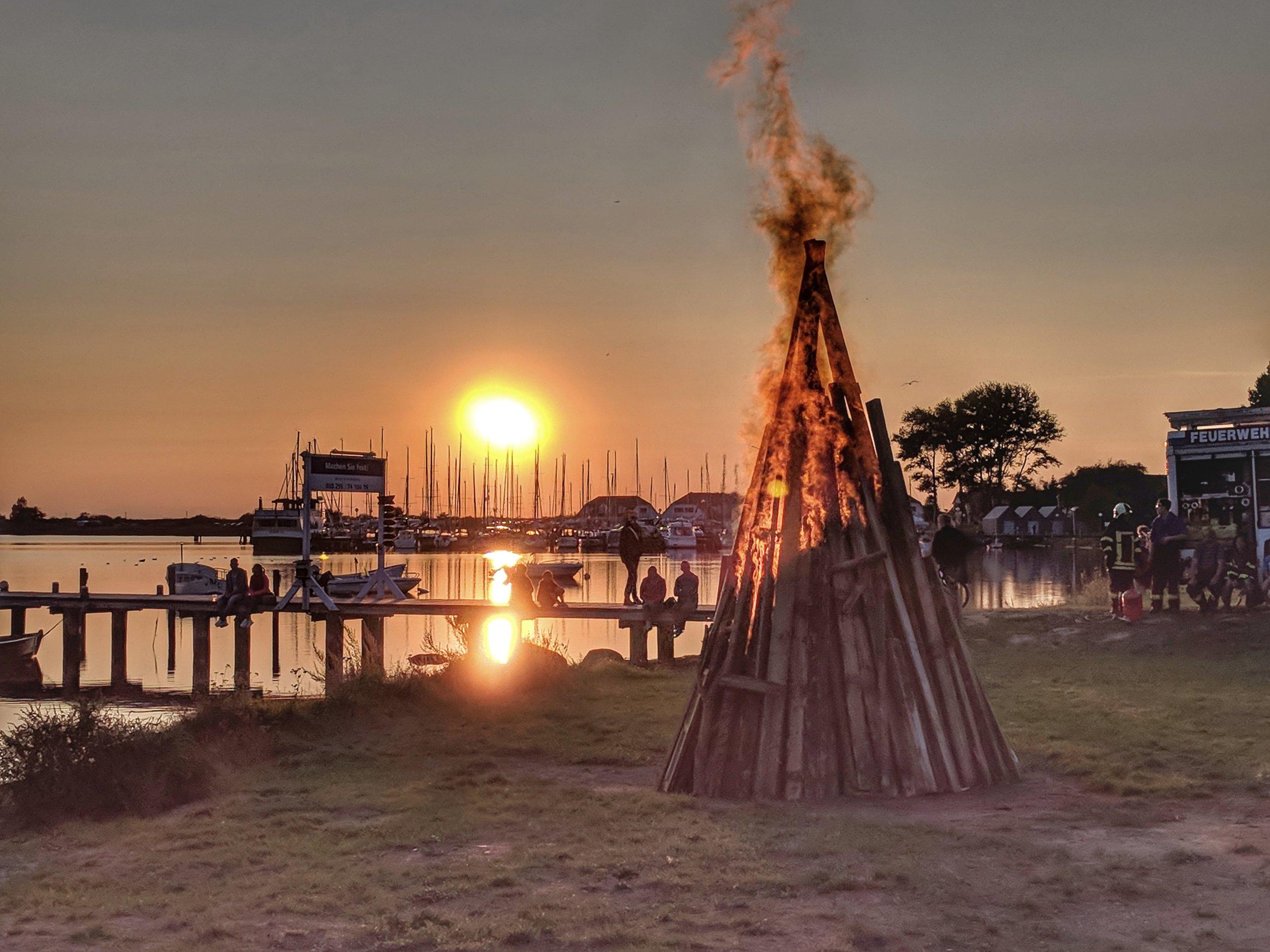 Beach bonfire in Rerik