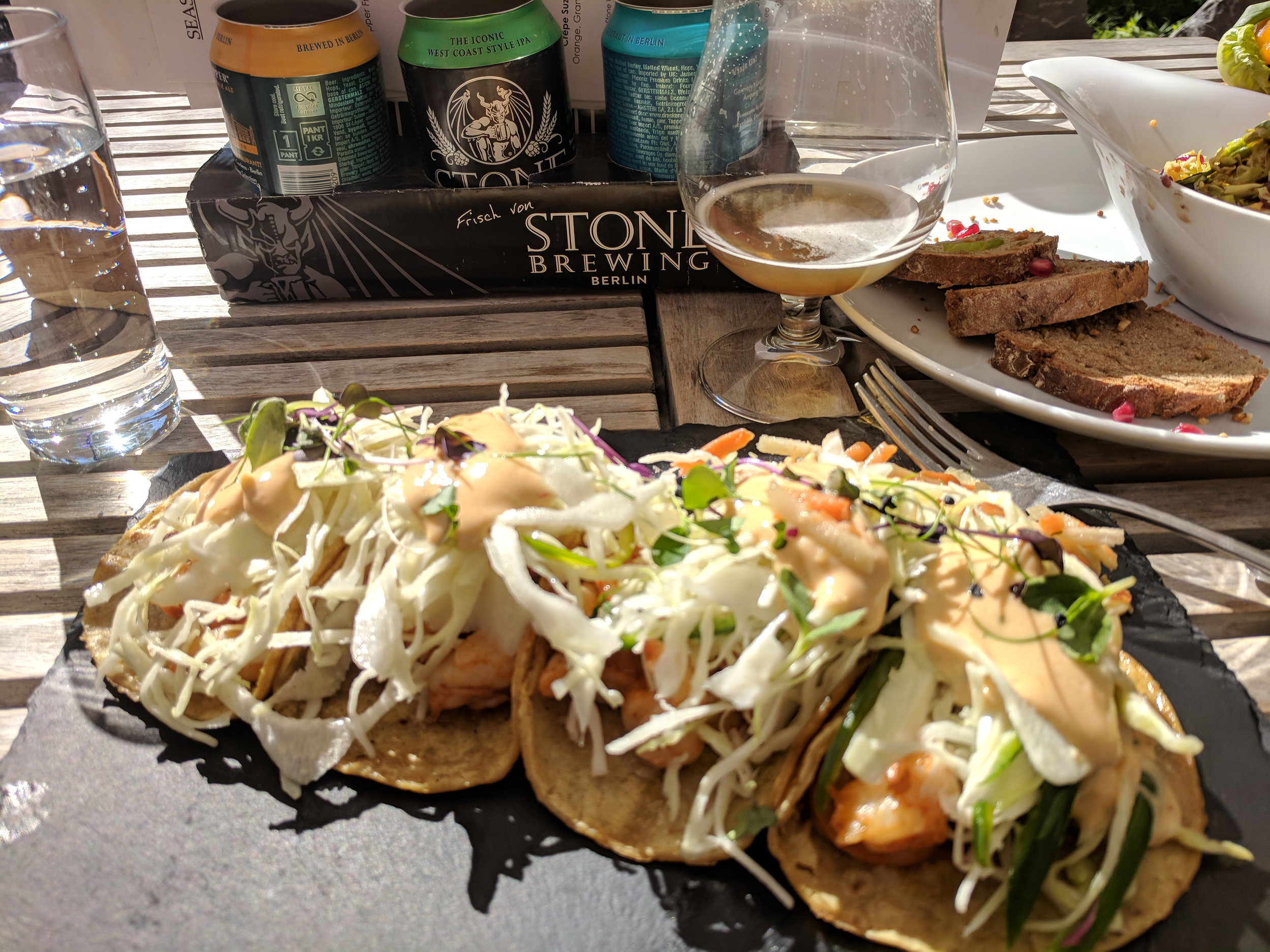 Sunshine, Fish Tacos and Stone beer- we could be in San Diego