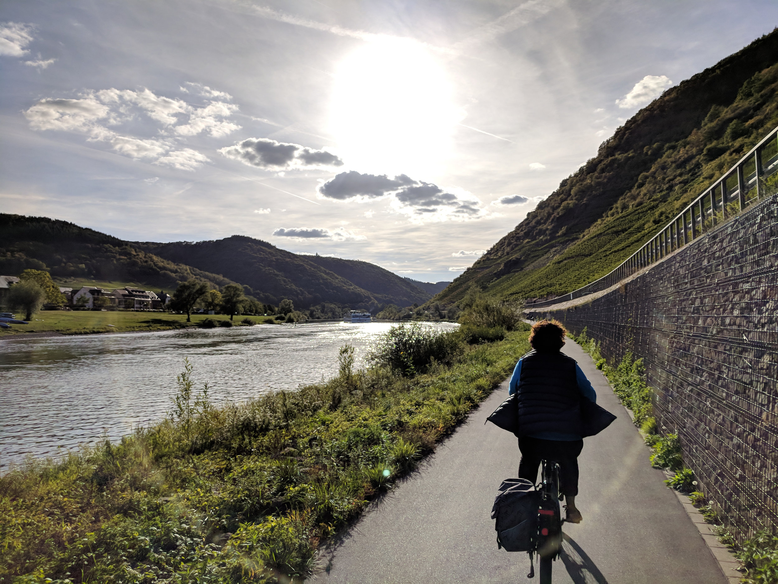 There are cycle paths along both sides of the river