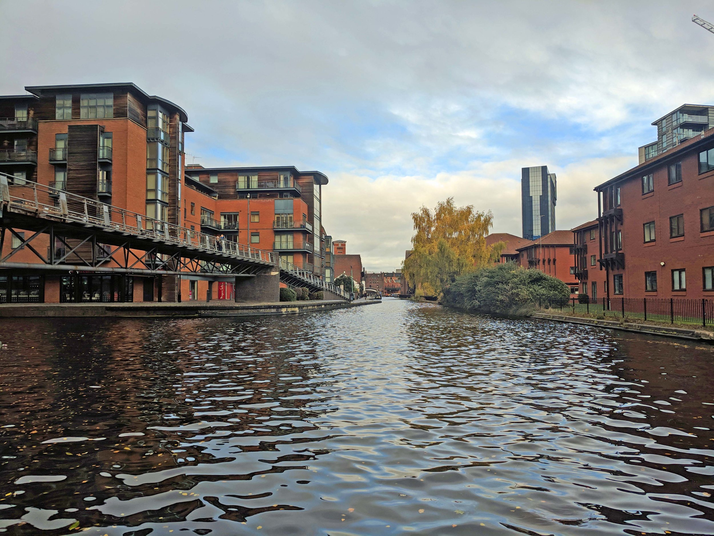 Birmingham: Not known for it's beauty, but the canals are quite pretty.
